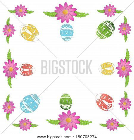 Easter background with spring flowers and decorative eggs