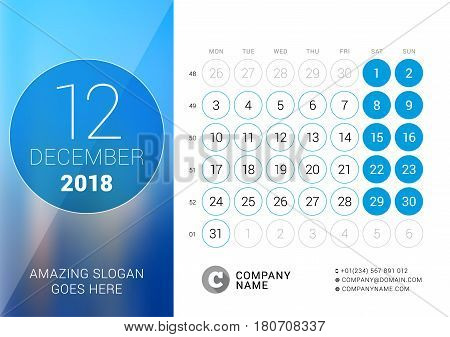 December 2018. Desk Calendar For 2018 Year. Vector Design Print Template With Place For Photo. Week