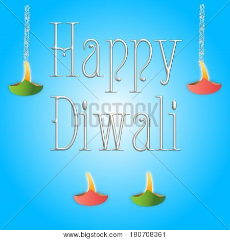 Happy Diwali Greetings with Diwali lights on blue background