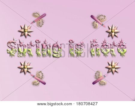Spring is here with flowers and insects on pink background