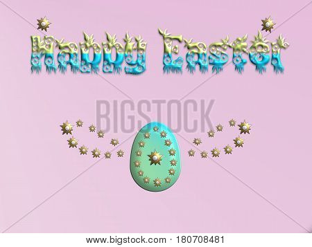 Happy Easter with decorative eggs on pink background