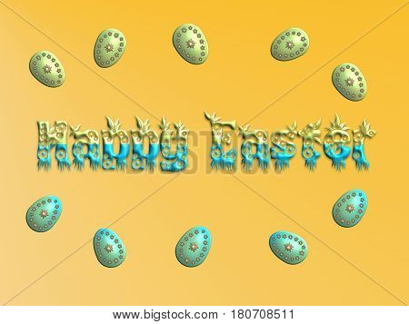 Happy Easter with decorative eggs on yellow background