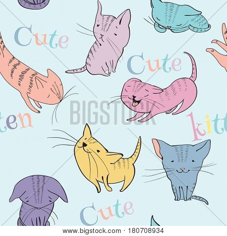Vector sketch style cute little kittens seamless pattern on blue background. Doodle cartoon funny characters. Best for T-shirts print.