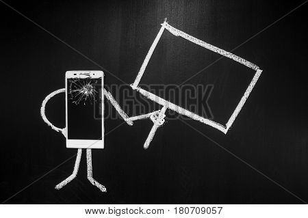 Broken glass of smartphone as a person on the black background with billboard for text written by chalk