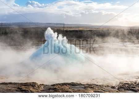 strokkur geysir hot spring Eruption in golden circle  Iceland.