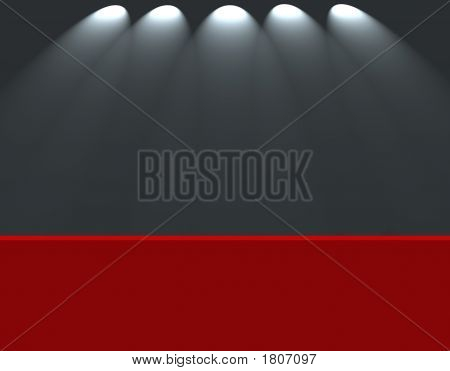 Spotlights Shining Down On Empty Stage