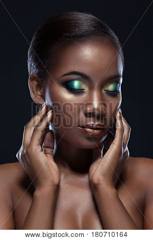 Beautiful African-american Girl Touching Her Face With Closed Eyes, Sensual Beauty Portrait Of A Han
