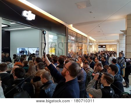 Moscow, Russia - April 1, 2017: Crowd of people at the opening of DJI Authorized Store