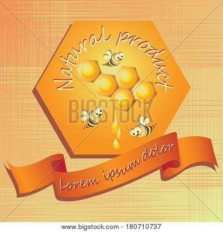 Honeycombs, bees and honey. Logo, label. Background with hexagon and ribbon for your text. Composition for decoration of products from honey cosmetics, products for children.