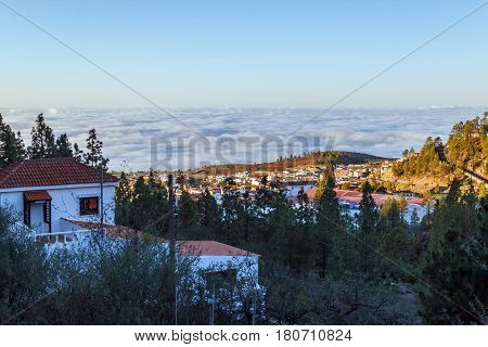 Vilaflor with an altitude of 1400 m is the highest village of Tenerife.  When the early morning sun illuminates the village the entire coast of the island is stiill covered with dense clouds