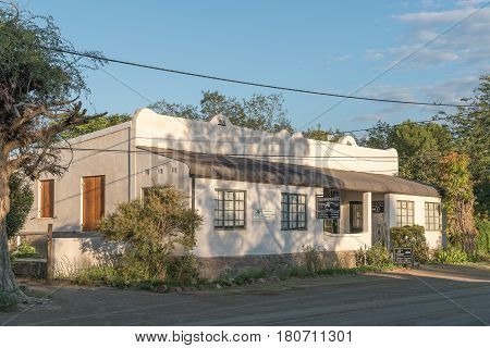 NIEU BETHESDA SOUTH AFRICA - MARCH 22 2017: Early morning at the Owl House visitor centre in Nieu-Bethesda an historic village in the Eastern Cape Province