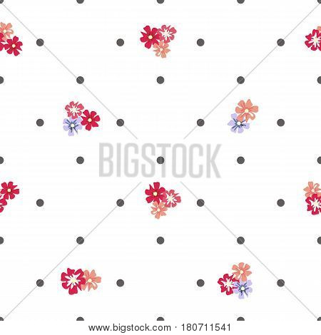 Seamless vintage pattern with flowers and polka dots on a white background. Delicate airy texture