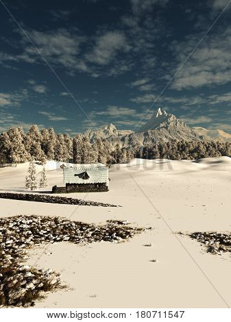 Fantasy illustration of an old stone cottage in a snow covered winter mountain landscape, digital illustration (3d rendering)