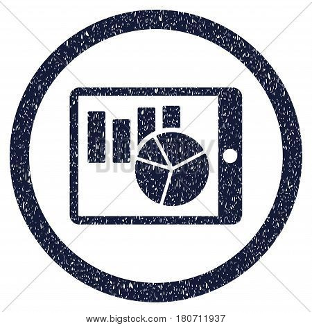 Charts On PDA grainy textured icon inside circle for overlay watermark stamps. Flat symbol with dust texture. Circled vector indigo blue rubber seal stamp with grunge design.