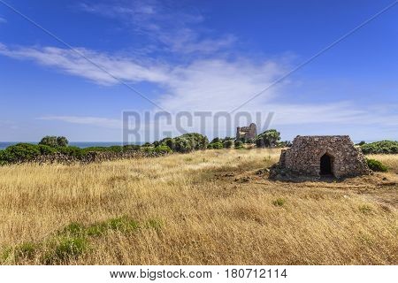SALENTO LANDSCAPE. Trullo house:in the background Uluzzo watchtower .Apulia,Italy.These singular houses, used as temporary or daily shelters,are disseminaded all over the Salentine area.