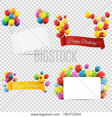 Group of Colour Glossy Helium Balloons with Ribbon Isolated on Transparent Background. Vector Illustration EPS10