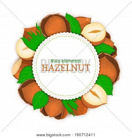 Round white frame composed of hazel nut. Vector card illustration of filbert nut. Circle nuts frame, walnut fruit in the shell, whole, shelled, leaves for packaging design food.