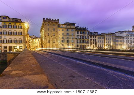 The Santa Trinita Bridge in Florence at sunrise.Italy
