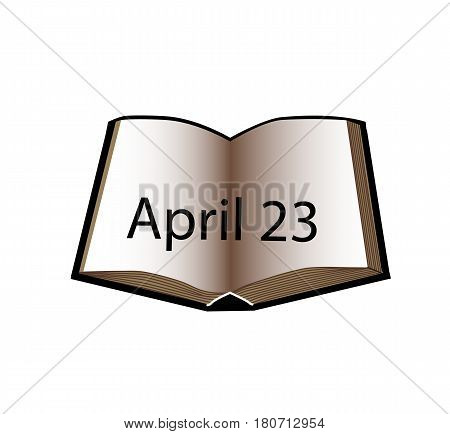 World Book and Copyright Day. 23 April. Open book. Vector illustration