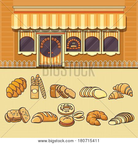 Bakery shop facade and set of cute various colorful food icons. Flat design vector illustration of small business concept. Stylish grocery boutique. Store design template.