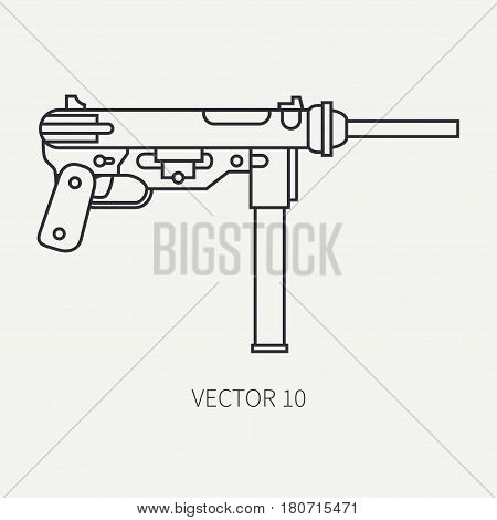 Line flat plain vector military icon - machine gun. Army equipment and armament. Legendary retro weapon. Cartoon style. Assault. Soldiers. Slug. War. Illustration and element for design and wallpaper.