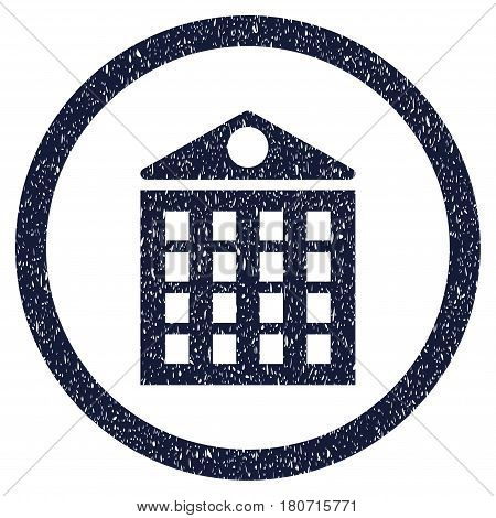 Multi-Storey House grainy textured icon inside circle for overlay watermark stamps. Flat symbol with dirty texture. Circled vector indigo blue rubber seal stamp with grunge design.