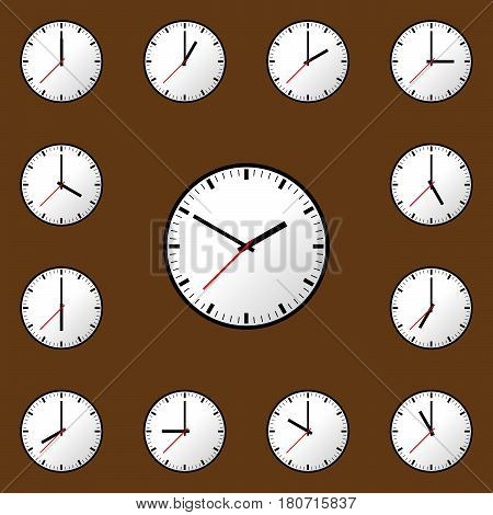 Set clock icon, Vector illustration, flat design. Easy to use and edit. EPS10. Brown background.