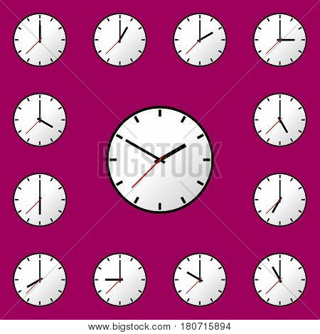 Set clock icon, Vector illustration, flat design. Easy to use and edit. EPS10. Crimson background.