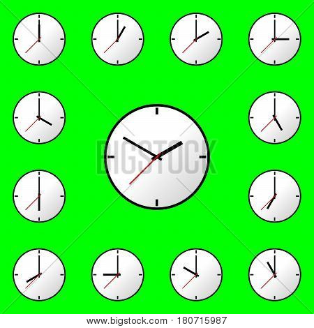 Set clock icon, Vector illustration, flat design. Easy to use and edit. EPS10. Green background.