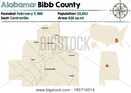 Large and detailed map of Bibb County in Alabama
