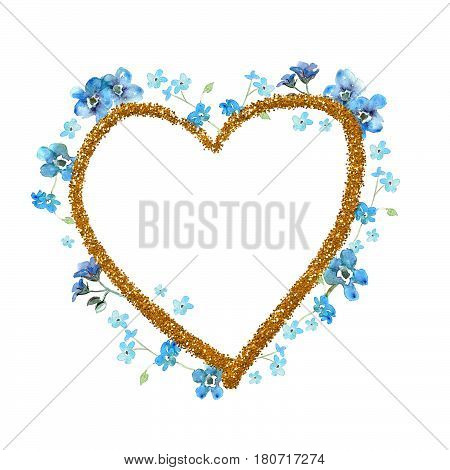 Forget-me-not watercolor flowers heart frame with golden contour on white background