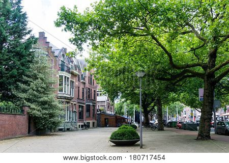 Street view of Rotterdam City Netherlands. back to 1270 when a dam was constructed in the Rotte river by people settled around it for safety.