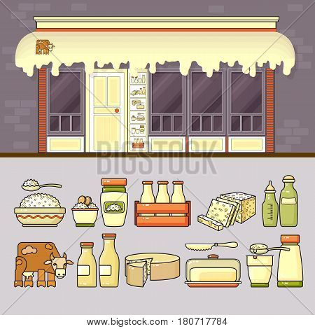 Dairy shop and set of cute various colorful food and drink icons. Flat design vector illustration of small business concept. Stylish dairy boutique. Store design template. Included facade, milk, cheese, yogurt, butter, pack.