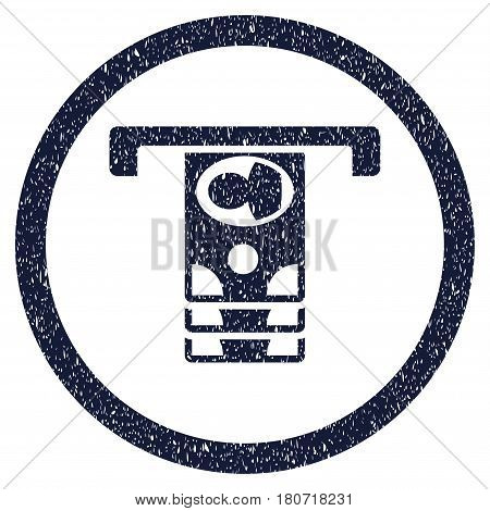 Withdraw Banknotes grainy textured icon inside circle for overlay watermark stamps. Flat symbol with scratched texture. Circled vector indigo blue rubber seal stamp with grunge design.