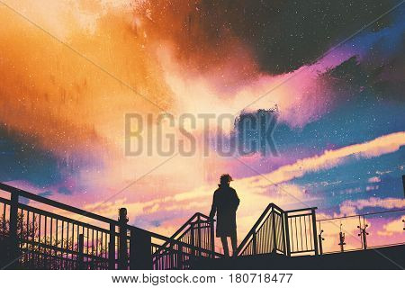 silhouette of man standing on footbridge against colorful sky ,illustration painting