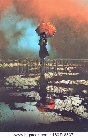mysterious woman holds umbrella standing in a puddle with reflection of spooky forest ,illustration painting