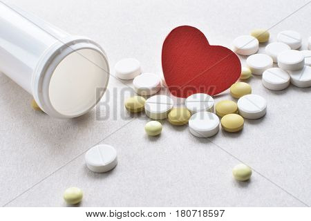 Heart Pills With Empty Plastic Bottle