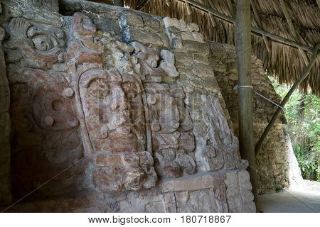 Kohunlich is a large archaeological site of Maya civilization, Yucatan Peninsula, Quintana Roo, Mexico. Temple of the Masks.
