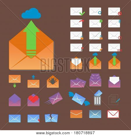 Email envelope cover icons communication set and office correspondence blank cover address design paper empty card business writing message vector illustration. Mailing object page document.