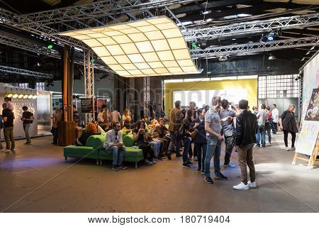 People Visiting Fuorisalone 2017 In Milan, Italy