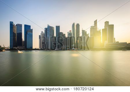 View of the financial district and business office building in singapore city