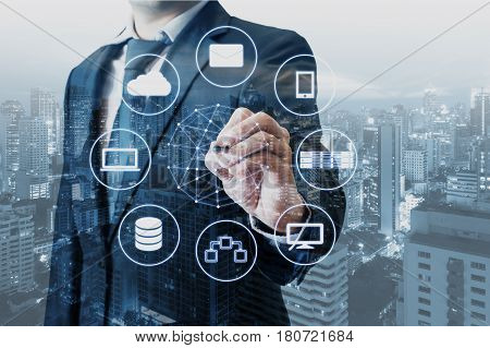 Double Exposure Of Professional Businessman Connected Devices With World Digital Technology Internet