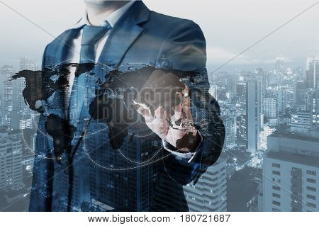 Double Exposure Of Professional Businessman World Map On Touch Screen To Connected Internet Network