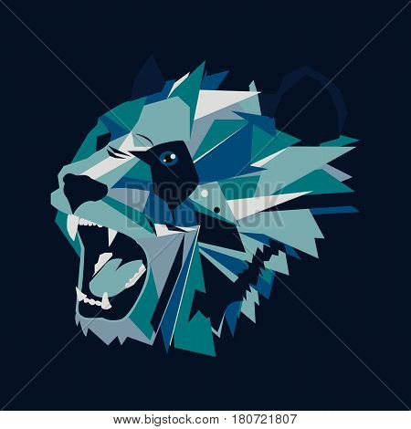 Vector illustration of geometric roar bear panda on dark background