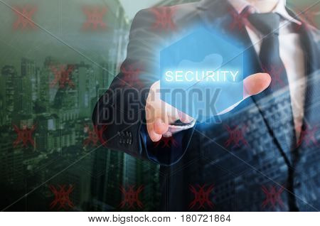Double Exposure Of Professional Businessman Touching Security Hexagonal Polygon Button On A Digital