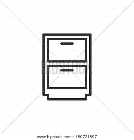 Cabinet archive line icon outline vector sign linear style pictogram isolated on white. Symbol logo illustration. Editable stroke. Pixel perfect