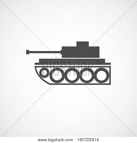 Vector flat tank icon. Isolated black icon for logo web site design app UI. Flat military illustration for posters cards book cover flyers banner web game designs.