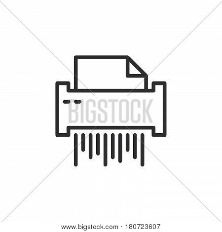 Paper document shredder line icon outline vector sign linear style pictogram isolated on white. Symbol logo illustration. Editable stroke. Pixel perfect