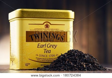 POZNAN POLAND - MAR 31 2017: Twinings is an English marketer of tea located in Andover Hampshire. The brand is owned by Associated British Foods.