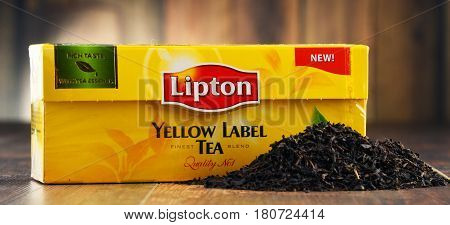 POZNAN POLAND - MAR 31 2017: Lipton Yellow Label is a famous brand of tea produced by Lipton since 1890 now sold in over 150 countries worldwide by Anglo-Dutch multinational company Unilever